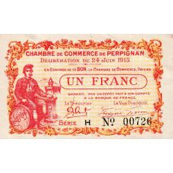 Perpignan - Pirot 100-7 - 1 franc - Série H - 24/06/1915 - Etat : SUP
