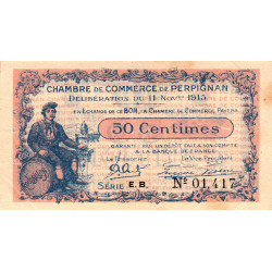 Perpignan - Pirot 100-9 - 50 centimes - Série E.B. - 11/11/1915 - Etat : TTB