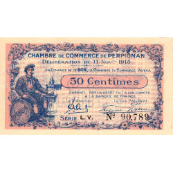 Perpignan - Pirot 100-9 - 50 centimes - Série L.V. - 11/11/1915 - Etat : SUP+