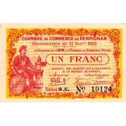 Perpignan - Pirot 100-12 - 1 franc - Série G.C. - 11/11/1915 - Etat : SUP+