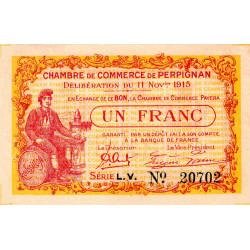 Perpignan - Pirot 100-12 - 1 franc - Série L.V. - 11/11/1915 - Etat : SUP