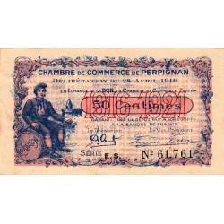 Perpignan - Pirot 100-14 - 50 centimes - Série E.S. - 28/04/1916 - Etat : SUP