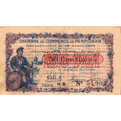 Perpignan - Pirot 100-14 - 50 centimes - Série H.B. - 28/04/1916 - Etat : TTB+