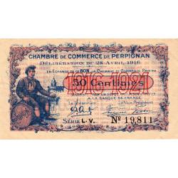 Perpignan - Pirot 100-14 - 50 centimes - Série L.V. - 28/04/1916 - Etat : SUP+