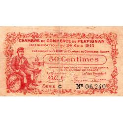 Perpignan - Pirot 100-5 - 50 centimes - Série C - 24/06/1915 - Etat : TB