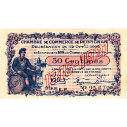 Perpignan - Pirot 100-19 - 50 centimes - Série E.P. - 12/10/1916 - Etat : SUP