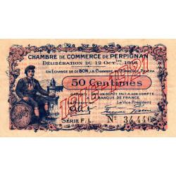 Perpignan - Pirot 100-19 - 50 centimes - Série F.L. - 12/10/1916 - Etat : TTB-
