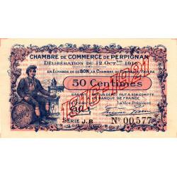 Perpignan - Pirot 100-19 - 50 centimes - Série J.B. - 12/10/1916 - Etat : SUP+