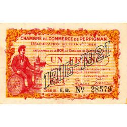 Perpignan - Pirot 100-20 - 1 franc - Série E.B. - 12/10/1916 - Etat : TTB+