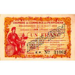 Perpignan - Pirot 100-20 - 1 franc - Série E.P. - 12/10/1916 - Etat : SUP+