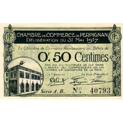 Perpignan - Pirot 100-21 - 50 centimes - Série A.B. - 31/05/1917 - Etat : SUP+ à SPL