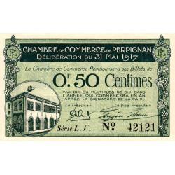 Perpignan - Pirot 100-21 - 50 centimes - Série L.V. - 31/05/1917 - Etat : SUP+