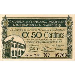 Perpignan - Pirot 100-25 - 50 centimes - Série D.M. - 17/02/1919 - Etat : SUP+