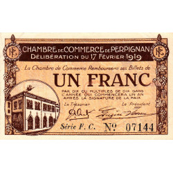 Perpignan - Pirot 100-26 - 1 franc - Série F.C. - 17/02/1919 - Etat : SUP