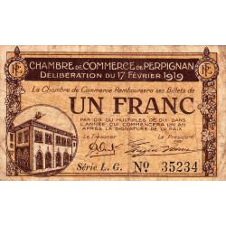 Perpignan - Pirot 100-26 - 1 franc - Série L.G. - 17/02/1919 - Etat : B+