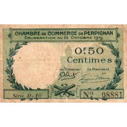 Perpignan - Pirot 100-27 - 50 centimes - Série D.10 - 22/10/1919 - Etat : TB