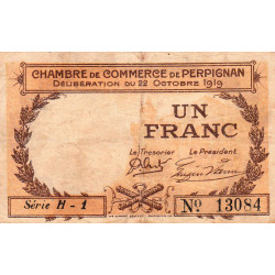Perpignan - Pirot 100-29 - 1 franc - Série H.1 - 22/10/1919 - Etat : TB