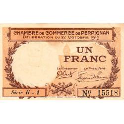 Perpignan - Pirot 100-29 - 1 franc - Série H.1 - 22/10/1919 - Etat : SUP+