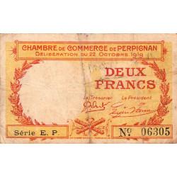 Perpignan - Pirot 100-30 - 2 francs - Série E.P - 22/10/1919 - Etat : TB
