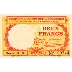 Perpignan - Pirot 100-30 - 2 francs - Série H.B - 22/10/1919 - Etat : SUP+