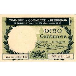 Perpignan - Pirot 100-31 - 50 centimes - Série J.S.15 - 15/01/1921 - Etat : SPL