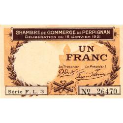 Perpignan - Pirot 100-32 - 1 franc - Série F.L.3 - 15/01/1921 - Etat : SUP+ à SPL
