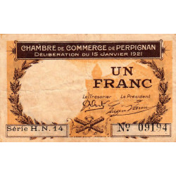Perpignan - Pirot 100-32- 1 franc - Série H.N.14 - 15/01/1921 - Etat : TB