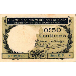 Perpignan - Pirot 100-33 - 50 centimes - Série E.P.6 - 11/01/1922 - Etat : TTB
