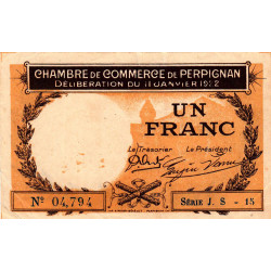 Perpignan - Pirot 100-34a - 1 franc - Série J.S.15 - 11/01/1922 - Etat : TTB