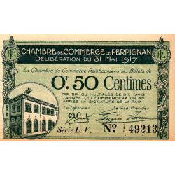 Perpignan - Pirot 100-21 - 50 centimes - Série L.V. - 31/05/1917 - Etat : SUP