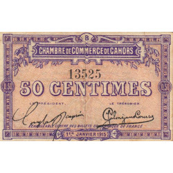 Cahors (Lot) - Pirot 35-5 - 50 centimes - Série B - 01/01/1915 - Etat : TTB+