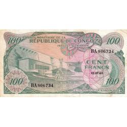 Congo (Kinshasa) - Pick 1a - 100 francs - Série BA - 02/07/1963 - Etat : TB+