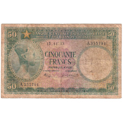 Congo Belge - Pick 27a - 50 francs - 15/11/1953 - Série A - Etat : B-