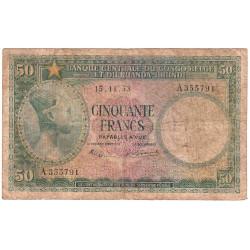 Congo Belge - Pick 27a - 50 francs - Série A - 15/11/1953 - Etat : B-