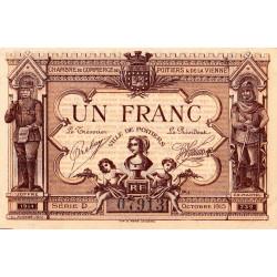 Poitiers - Vienne - Pirot 101-3 - 1 franc - Série D - 10/1915 - Etat : SPL