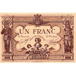 Poitiers - Vienne - Pirot 101-3 - 1 franc - Série G - 10/1915 - Etat : SUP