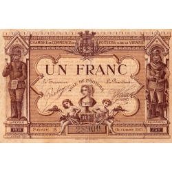 Poitiers - Vienne - Pirot 101-6 - 1 franc - Série B - 10/1915 - Etat : TB+
