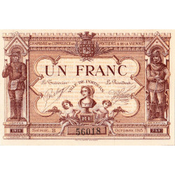 Poitiers - Vienne - Pirot 101-6 - 1 franc - Série B - 10/1915 - Etat : NEUF