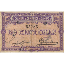 Cahors (Lot) - Pirot 35-5 - 50 centimes - Série D - 01/01/1915 - Etat : TB+