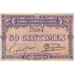 Cahors (Lot) - Pirot 35-5 - 50 centimes - Série D - 01/01/1915 - Etat : TTB+