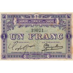Cahors (Lot) - Pirot 35-7 - Série B - 1 franc - 1915 - Etat : TTB