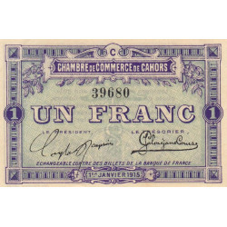 Cahors (Lot) - Pirot 35-7 - Série C - 1 franc - 1915 - Etat : SPL+