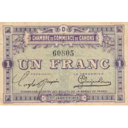 Cahors (Lot) - Pirot 35-7 - 1 franc - Série D - 01/01/1915 - Etat : TTB