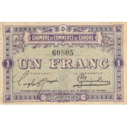 Cahors (Lot) - Pirot 35-7 - Série D - 1 franc - 1915 - Etat : TTB