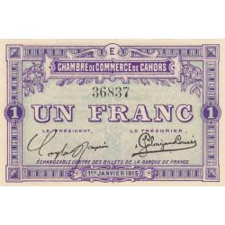 Cahors (Lot) - Pirot 35-7-E - 1 franc - 1915 - Etat : SUP