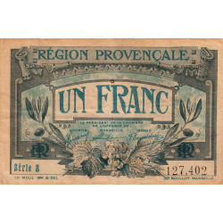 Région Provençale - Pirot 102-4 - 1 franc - Série S - Sans date - Etat : TB