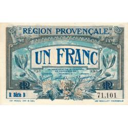 Région Provençale - Pirot 102-8 - 1 franc - R Série B - Sans date - Etat : pr.NEUF