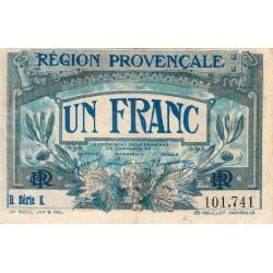 Région Provençale - Pirot 102-8 - 1 franc - R Série K - Sans date - Etat : TTB
