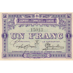 Cahors (Lot) - Pirot 35-11 - Série B - 1 franc - 1915 - Etat : SPL