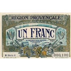 Région Provençale - Pirot 102-12 - 1 franc - R Série 1 - Sans date - Petit numéro - Etat : SUP+